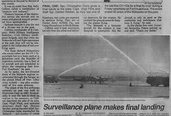 Reporte en el diario local sobre la desactivación de los Mohawk del 304th MI Bn de la USAICS
